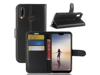 Huawei P20 Lite Ledertasche Portemonnaie Karten Schutzhülle schwarz