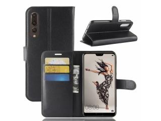 Huawei P20 Pro Ledertasche Portemonnaie Karten Schutzhülle schwarz