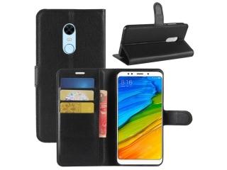 Ledertasche für Xiaomi Redmi 5 Plus Portemonnaie Karten Hülle schwarz