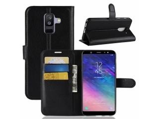 Ledertasche Samsung Galaxy A6+ (2018) Portemonnaie Karten Case schwarz