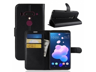 Ledertasche HTC U12+ Plus Portemonnaie Karten Etui Schutzhülle schwarz