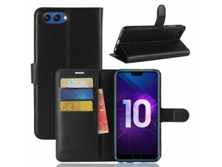 Huawei Honor 10 Ledertasche Portemonnaie Karten Case Hülle schwarz