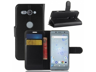 Ledertasche Sony Xperia XZ2 Compact Portemonnaie Karten Hülle schwarz