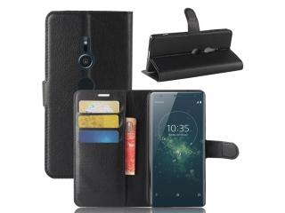 Ledertasche Sony Xperia XZ2 Portemonnaie Karten Hülle Etui schwarz
