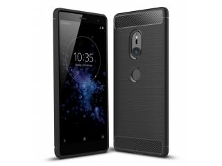 Sony Xperia XZ2 Hülle Carbon TPU Gummi Case Cover flexibel schwarz