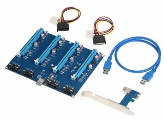 4-Fach PCI-E Express Riser Card USB 3.0 60cm SATA Mining Karte