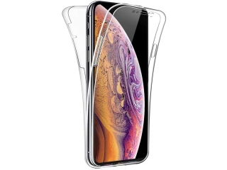 360 Grad iPhone Xs Touch Case TransparentKlar Silikon TPU Rundumschutz