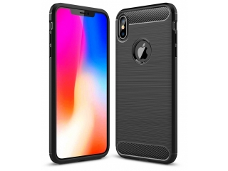 iPhone Xs Max Carbon Gummi Hülle TPU Case Cover flexibel in schwarz