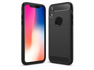iPhone Xr Carbon Gummi Hülle TPU Case Cover flexibel in schwarz