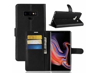 Ledertasche Samsung Note 9 Portemonnaie Karten Schutzhülle schwarz