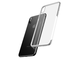 Baseus iPhone Xs Max Gummi Hülle dünnes 0.8mm Case silber transparent