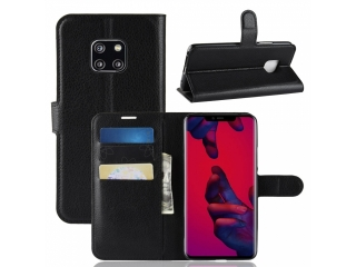 Huawei Mate 20 Pro Ledertasche Portemonnaie Karten Etui Hülle schwarz