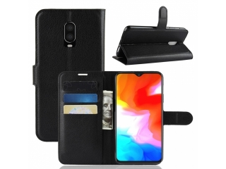 Ledertasche OnePlus 6T Portemonnaie Karten Etui Schutzhülle schwarz