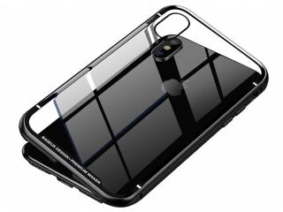Baseus iPhone Xs X Magnetische Alu Schutzhülle Glas Rückseite schwarz