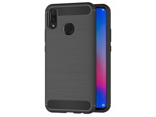 Huawei P Smart+ Carbon Gummi Hülle TPU Case Cover flexibel