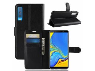 Ledertasche Samsung Galaxy A7 (2018) Portemonnaie Karten Hülle schwarz