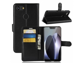 Ledertasche für Google Pixel 3 Portemonnaie & Karten Hülle schwarz