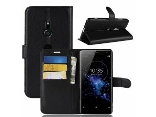 Sony Xperia XZ3 Ledertasche Portemonnaie Karten Hülle Etui schwarz