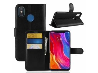 Xiaomi Mi 8 Ledertasche Portemonnaie Karten Etui Hülle schwarz