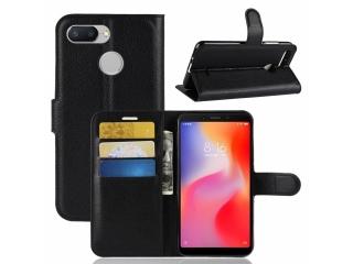 Xiaomi Redmi 6 Ledertasche Portemonnaie Karten Etui Hülle schwarz