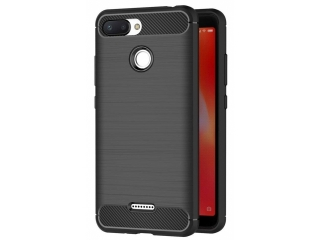 Xiaomi Redmi 6 Carbon Gummi Hülle TPU Case Cover flexibel schwarz