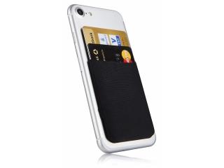 Ultra Slim Karten Halterung selbstklebend für Handy aus Lycra schwarz