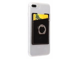 Karten Halterung mit Ring selbstklebend für Handy aus Leder schwarz