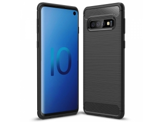 Samsung Galaxy S10 TPU Carbon Flex Gummi Hülle Thin Softcase - schwarz