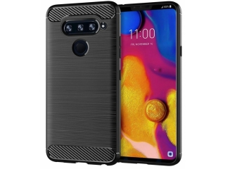 LG V40 ThinQ Carbon Gummi Hülle TPU Case Cover flexibel schwarz