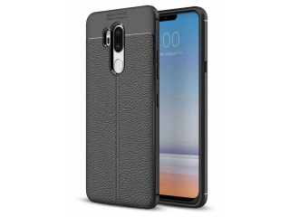 LG G7 ThinQ Leder Design Gummi Hülle TPU Case Cover flexibel