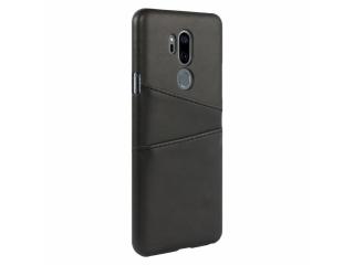 LG G7 ThinQ Leder Case Karten Etui Schutzhülle - schwarz