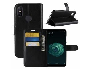 Xiaomi Mi A2 Ledertasche Portemonnaie Karten Etui Hülle schwarz