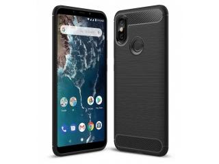 Xiaomi Mi A2 Carbon Gummi Hülle TPU Case Cover flexibel schwarz