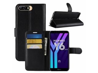 Huawei Y6 (2018) Ledertasche Portemonnaie Karten Schutzhülle schwarz