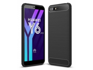 Huawei Y6 (2018) Carbon Gummi Hülle TPU Case Cover flexibel schwarz