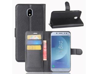 Ledertasche Samsung Galaxy J3 (2017) Portemonnaie Karten Hülle schwarz