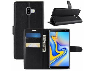 Ledertasche Samsung Galaxy J6+ Plus Portemonnaie Karten Hülle schwarz