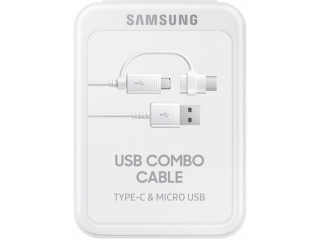 Samsung Combo USB C / Micro USB Lade Kabel 2in1 Set 1.5m in Retail Box