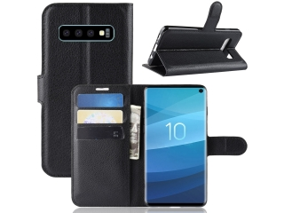 Samsung Galaxy S10 Leder Hülle Portemonnaie Karten Ledertasche schwarz