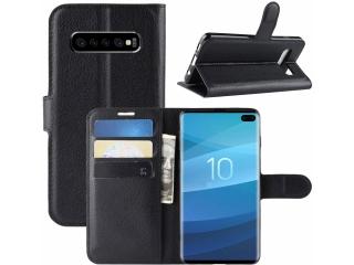 Samsung Galaxy S10+ Lederhülle Portemonnaie Karten Ledertasche schwarz