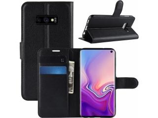 Samsung Galaxy S10e Lederhülle Portemonnaie Karten Ledertasche schwarz