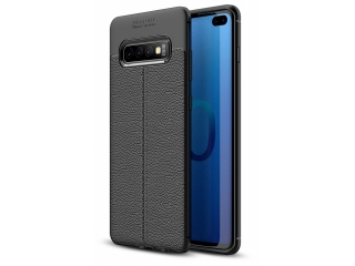 Samsung Galaxy S10+ Leder Design Gummi Hülle TPU Case Cover flexibel