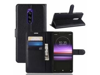 Sony Xperia 1 Ledertasche Portemonnaie Karten Hülle Etui schwarz