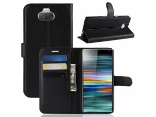 Sony Xperia 10 Ledertasche Portemonnaie Karten Hülle Etui schwarz
