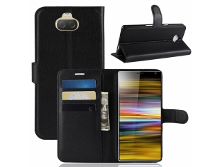 Sony Xperia 10 Plus Ledertasche Portemonnaie Karten Hülle Etui schwarz