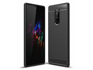 Sony Xperia 1 TPU Carbon Flex Gummi Hülle Thin Softcase - schwarz