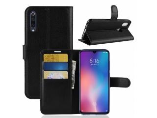 Xiaomi Mi 9 Ledertasche Portemonnaie Karten Etui Hülle schwarz