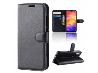 Xiaomi Redmi Note 7 Ledertasche Portemonnaie Karten Etui Hülle schwarz