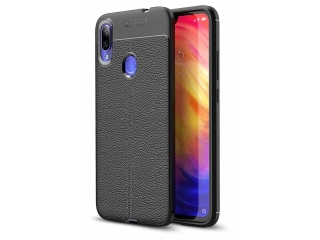Xiaomi Redmi Note 7 Leder Design Gummi Hülle TPU Case Cover flexibel