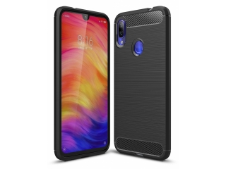 Xiaomi Redmi Note 7 Carbon Gummi Hülle TPU Case Cover flexibel schwarz